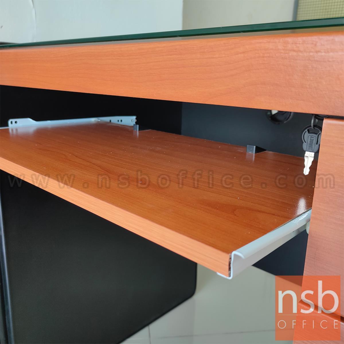 โต๊ะคอมพิวเตอร์ 2 ลิ้นชัก  รุ่น Mindless (ไมนด์เลส) ขนาด 100W ,120W cm. พร้อมรางคีบอร์ดและกุญแจล็อค