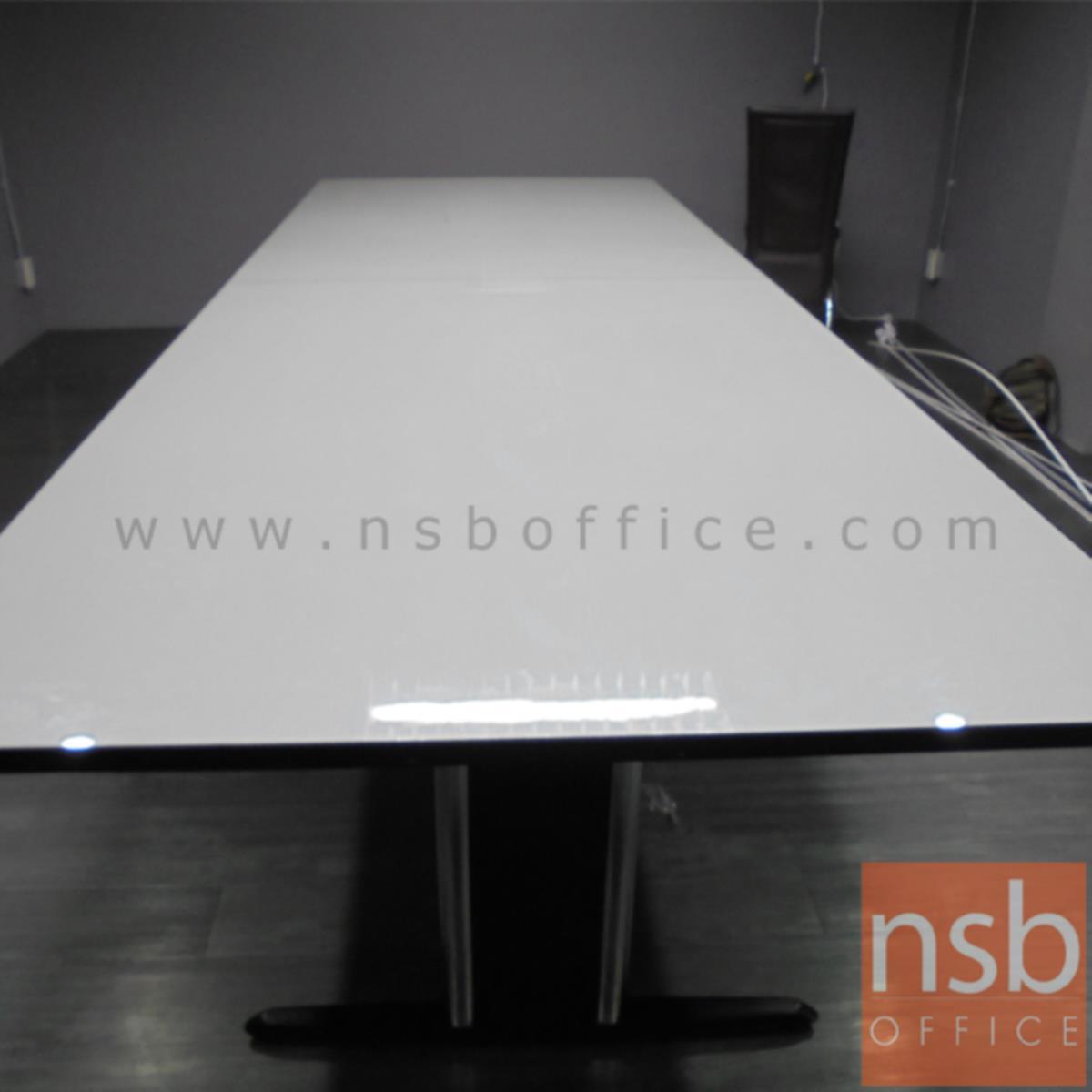 โต๊ะประชุมทรงสี่เหลี่ยม  ขนาด 300W-480W cm. พร้อมระบบคานเหล็ก ขาเหล็กตัวไอ