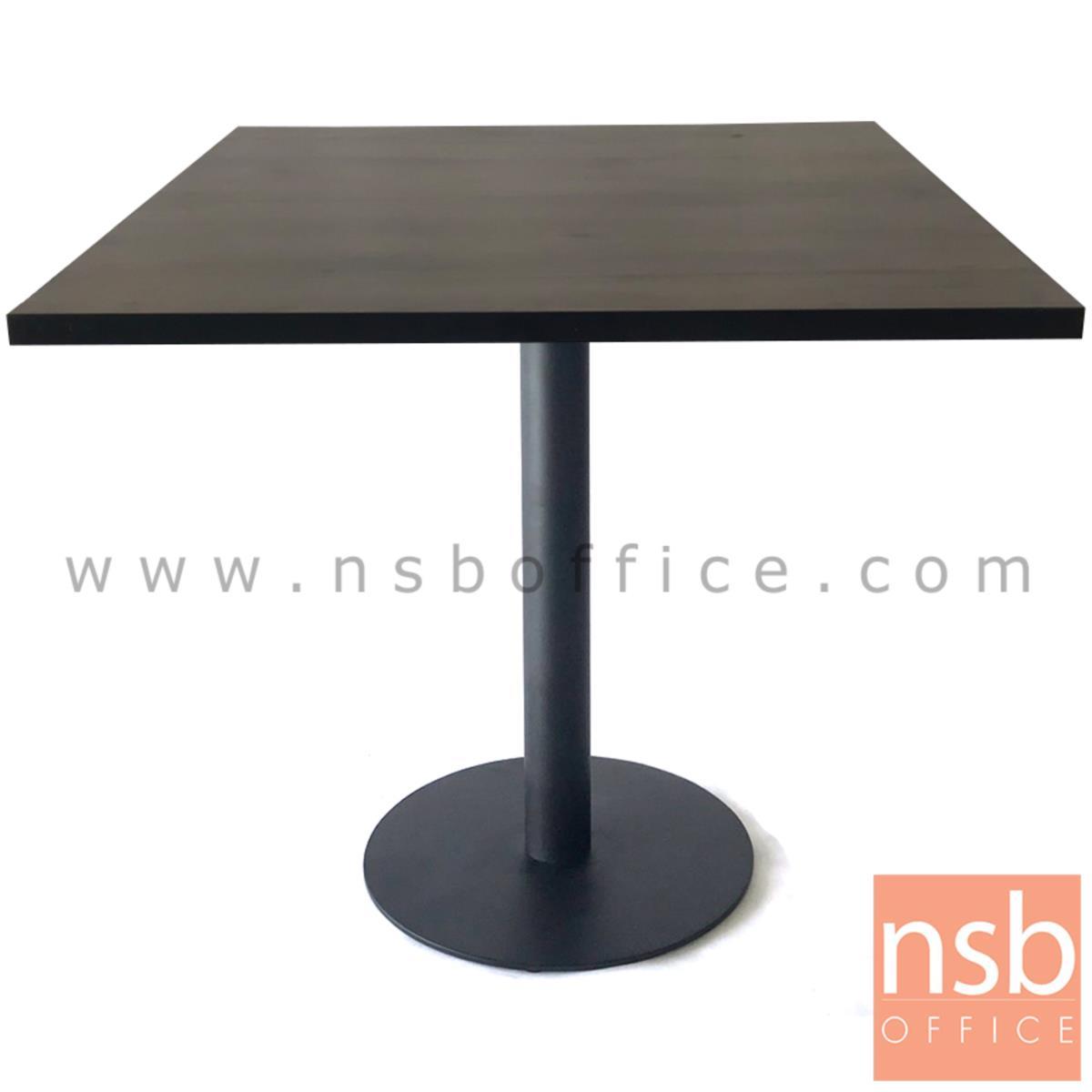 โต๊ะบาร์จานกลมแผ่นเรียบ ทำสีดำ รุ่น NANT
