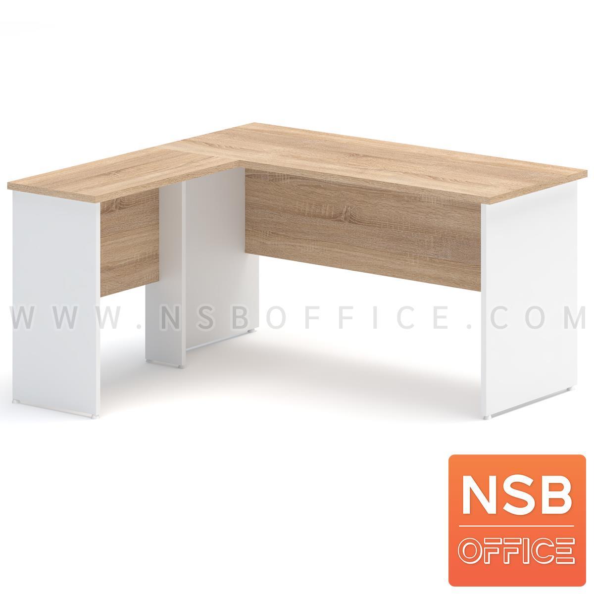 A21A017:โต๊ะทำงานทรงตัวแอล  รุ่น SR-N15 ขนาด 150W cm. เมลามีน สีเนเจอร์ทีค-ขาว
