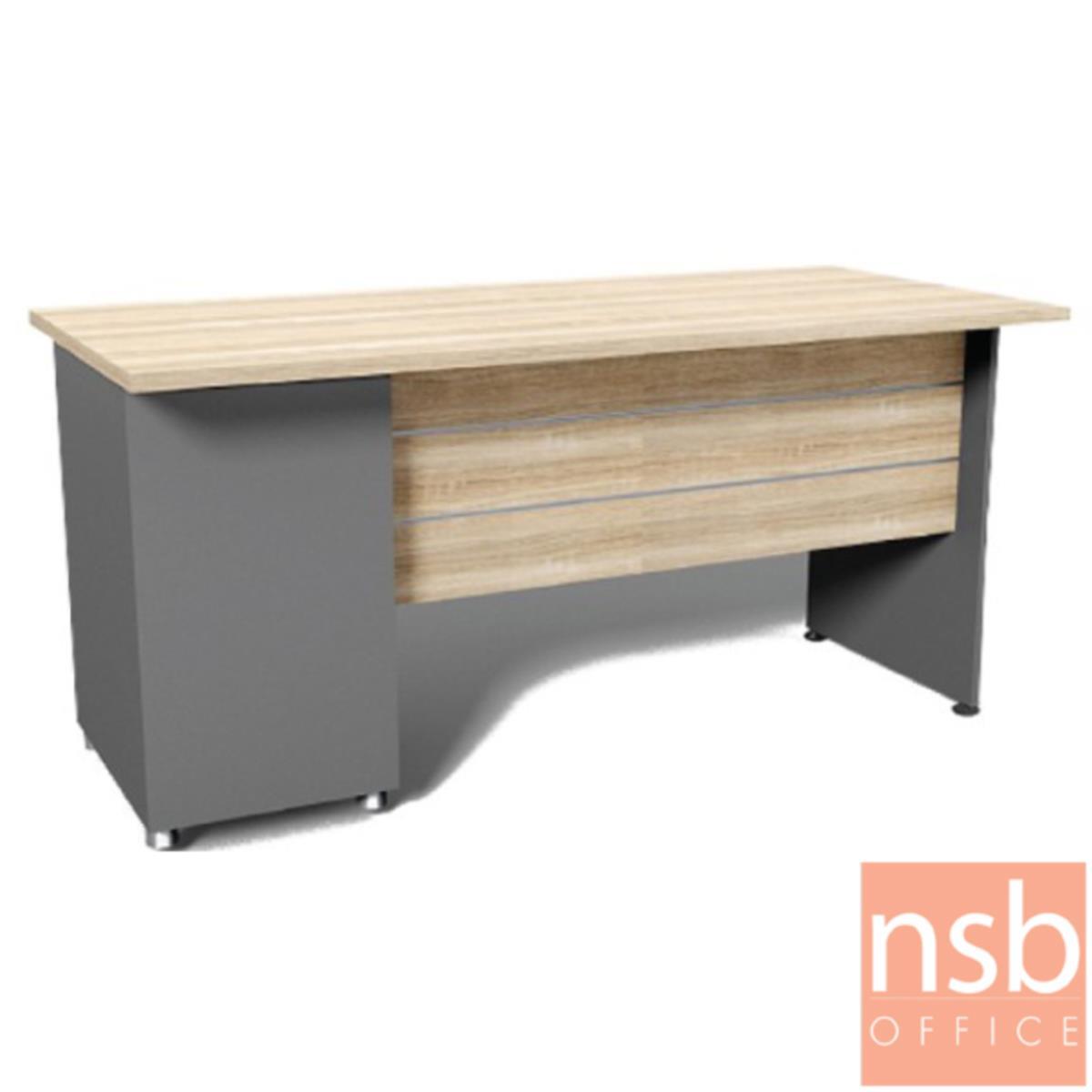 โต๊ะทำงาน 2 ลิ้นชัก 1 ช่องโล่ง  รุ่น DKK-1602  ขนาด 160W cm. สีแกรนโอ๊คตัดกราไฟท์