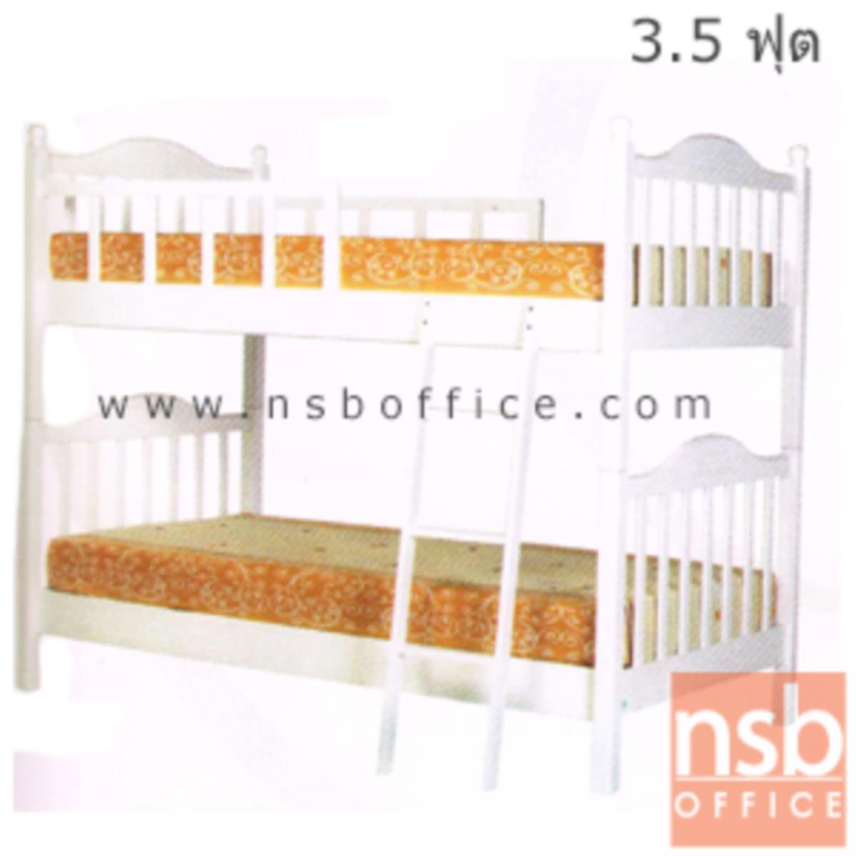 เตียงไม้ยางพาราล้วน 2 ชั้น ขนาด 3.5 ฟุต หัวเตียงไม้ระแนง