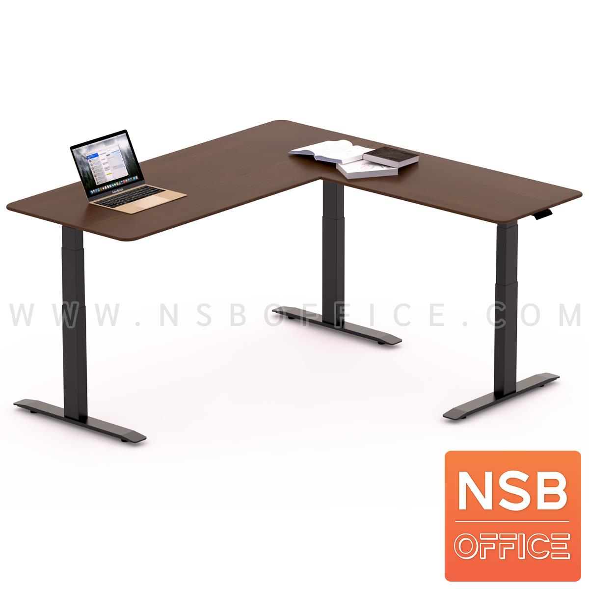 A44A006:โต๊ะทำงานปรับระดับ Sit 2 Stand ทรงตัวแอล รุ่น Civic 2 (ซีวิค 2) ขนาด 160W, 180W cm. หน้าท็อปไม้ยางพารา