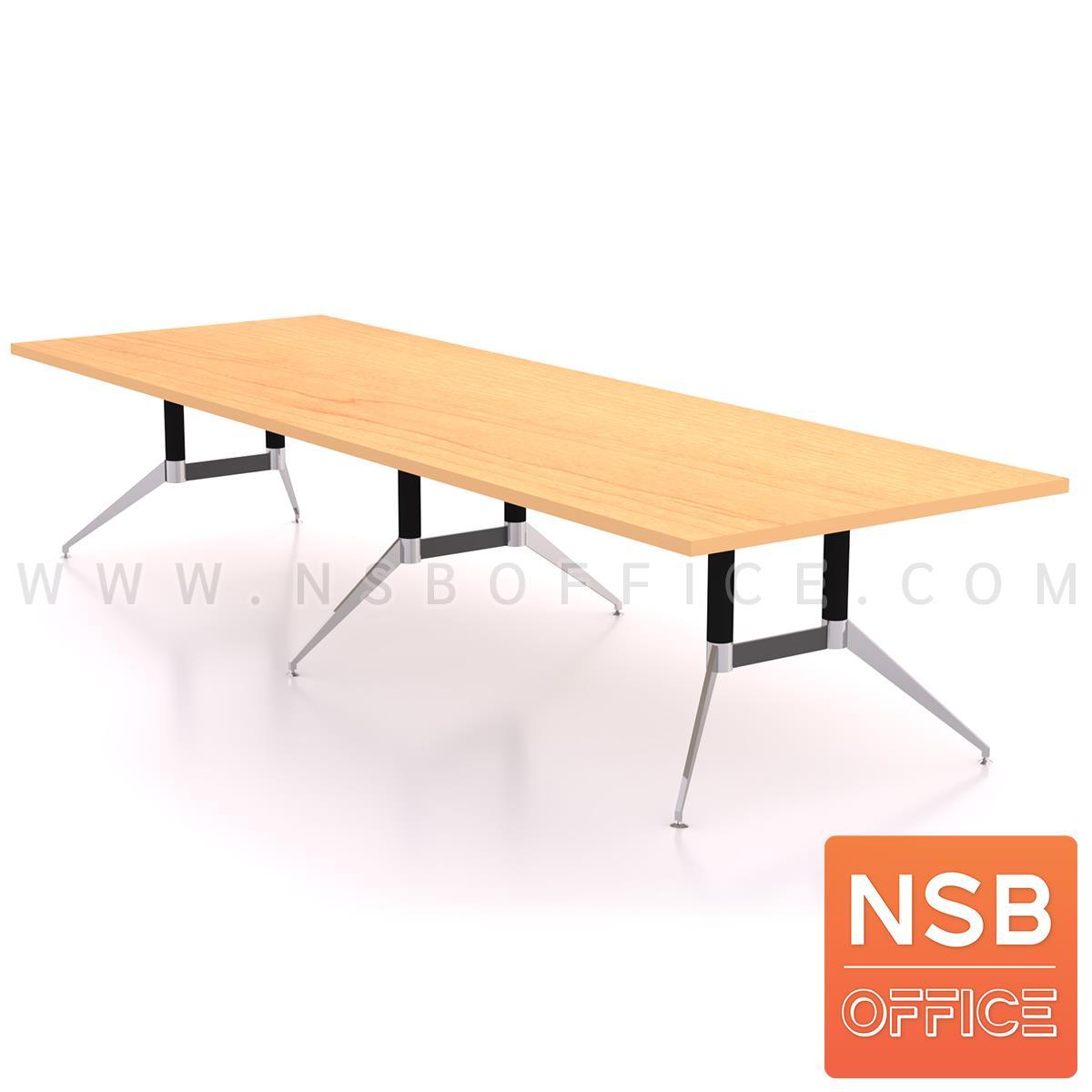 A25A009:โต๊ะประชุมทรงสี่เหลี่ยม  รุ่น Finch (ฟินช์) ขนาด 360W ,480W cm.  ขาเหล็กปลายแฉกทรงคางหมู