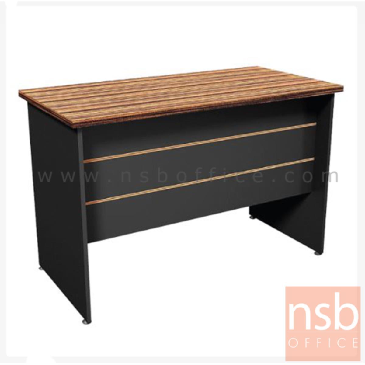 A26A018:โต๊ะทำงาน รุ่น Denton (เดนตัน) ขนาด 120W ,150W cm.  ขาไม้ สีลายไม้ซีบราโน่ตัดดำ ขอบ ROSEGOLD