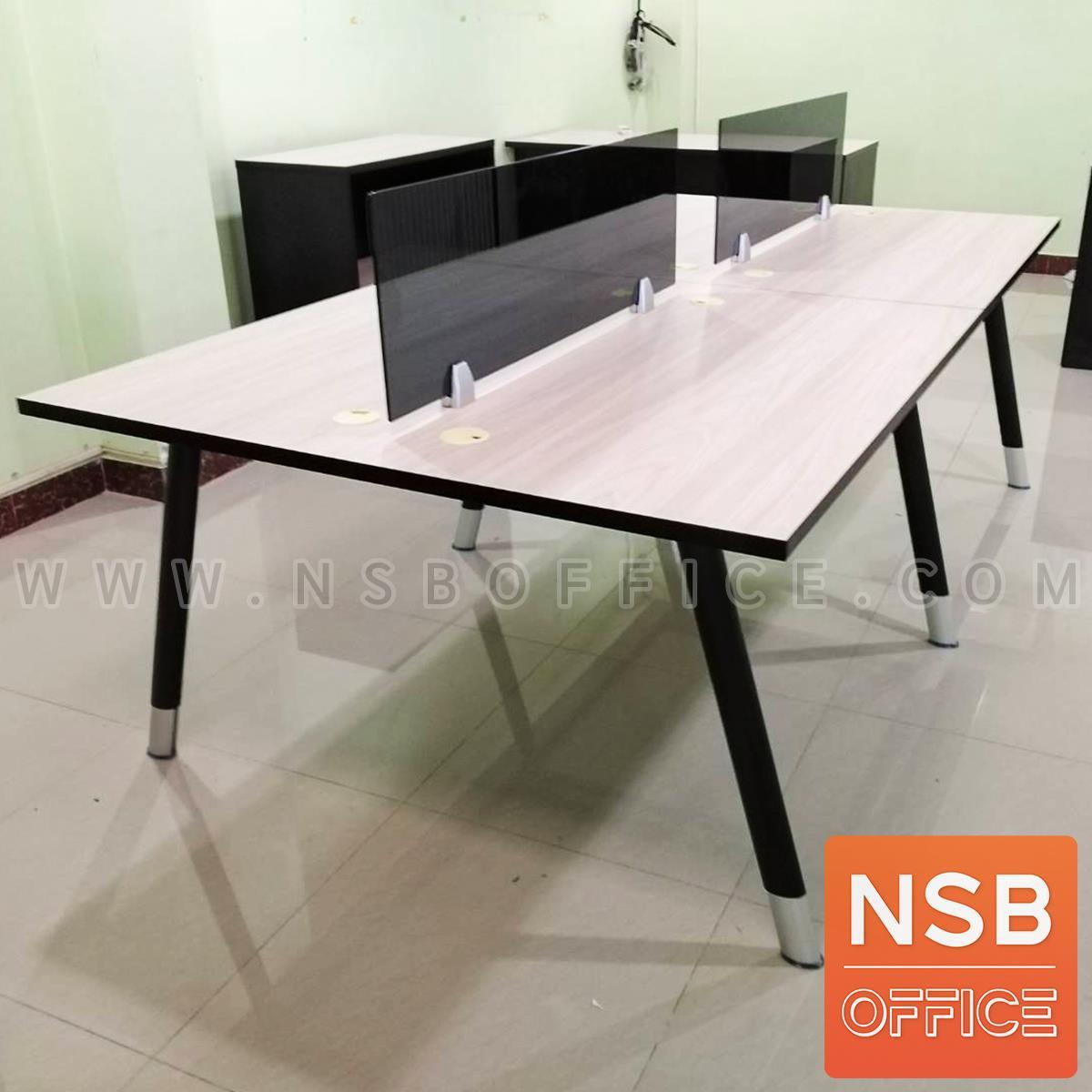 ชุดโต๊ะทำงาน 4 ที่นั่ง  รุ่น Brenton (เบรนตัน) ขนาด 240W cm. พร้อมมินิสกรีนด้านหน้า