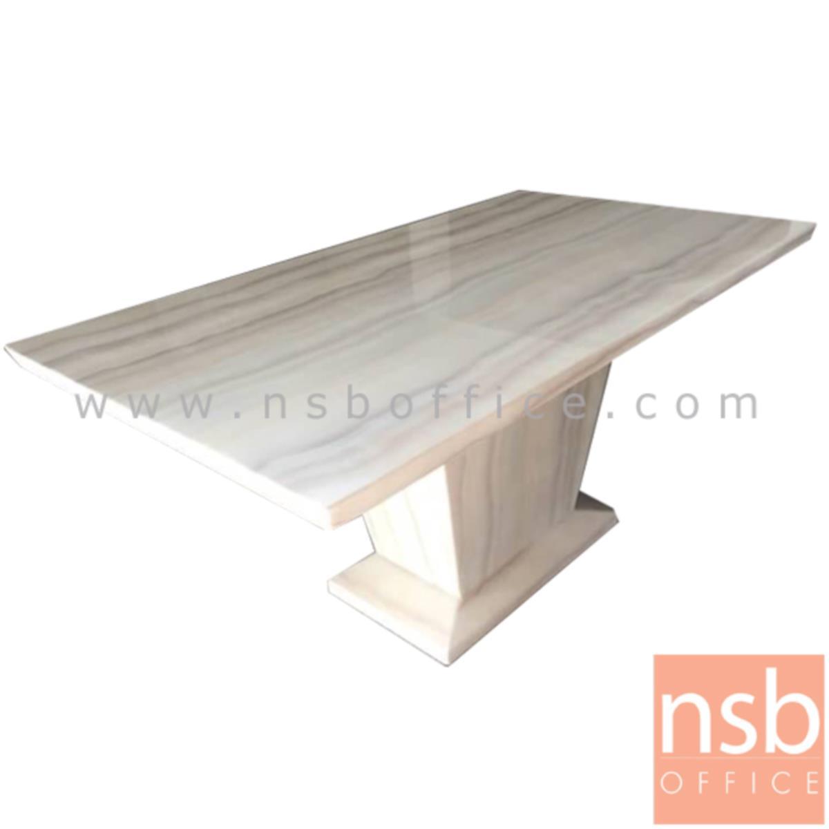 G14A151:โต๊ะรับประทานอาหารหน้าหินอ่อน รุ่น Kellan (เคลแลน) ขนาด 160W cm. ฐานสี่เหลี่ยมพีระมิด