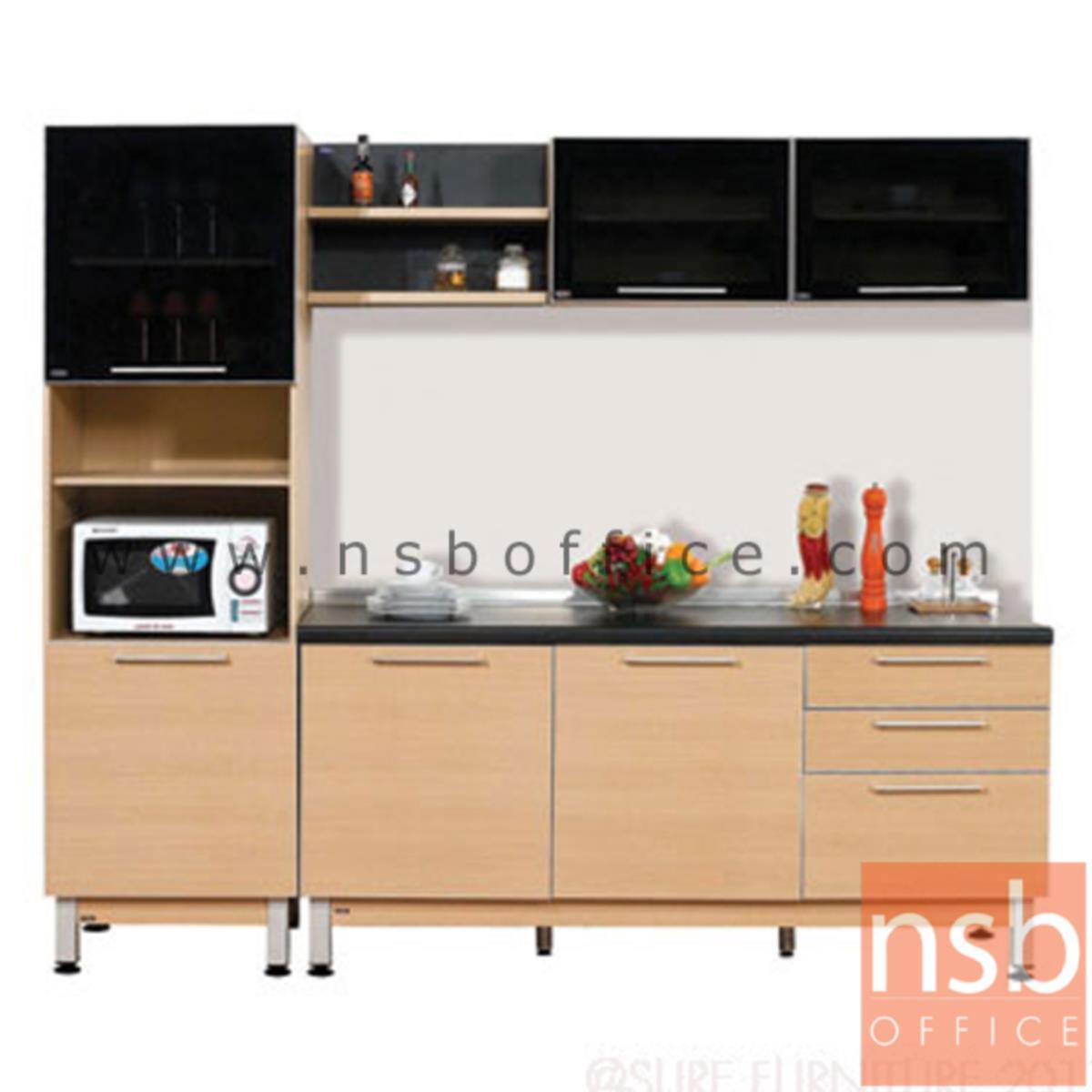K02A015:ชุดตู้ครัวสีบีทดำ 240W cm. รุ่น STEP-152 (สำหรับครัวเปียกและครัวแห้ง)