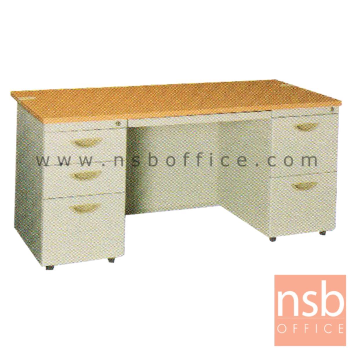 E28A115:โต๊ะทำงานเหล็กพร้อมรางคีย์บอร์ด 5 ลิ้นชักข้าง  ยี่ห้อ Lucky รุ่น D32,D23
