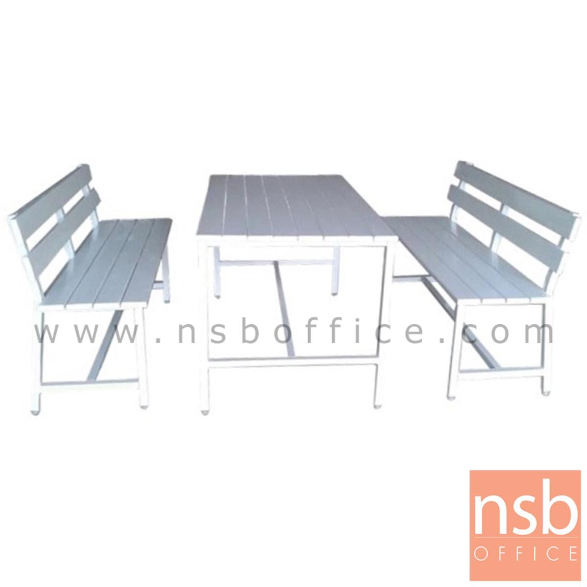 A17A074:โต๊ะโรงอาหารไม้พ่นสีขาว รุ่น NEWYORK (นิวยอร์ก) ขนาด 120W cm. ขาเหล็กเหลี่ยม