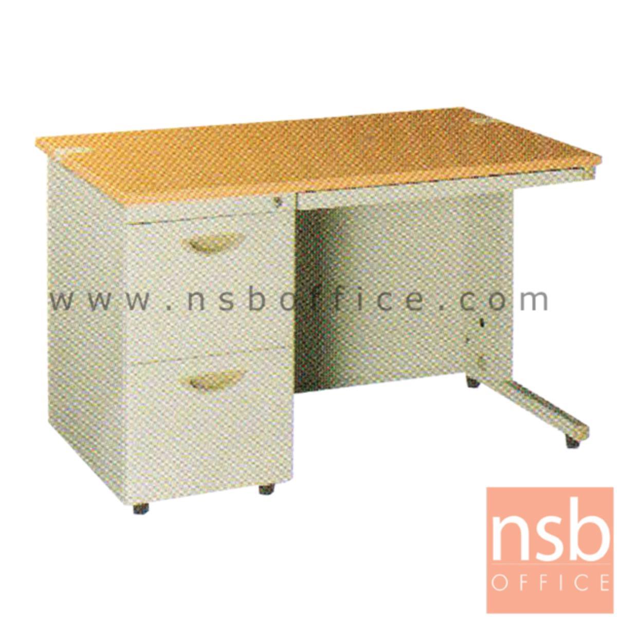 E28A112:โต๊ะทำงานเหล็กพร้อมรางคีย์บอร์ด 2 ลิ้นชักข้าง ยี่ห้อ Lucky  รุ่น D2-75100,D2-75120,D2-75140