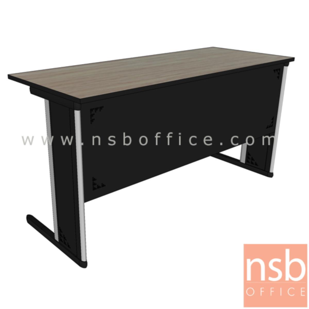 A18A081:โต๊ะประชุมตรง  ขนาด 80W ,120W ,150W ,180W ,210W cm. พร้อมบังตาเหล็กทำลวดลาย ขาเหล็กตัวแอล