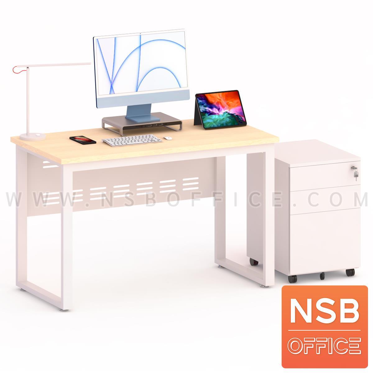 โต๊ะทำงาน บังตาเหล็ก รุ่น Aaron (อาร์รอน)   พร้อมตู้ลิ้นชักล้อเลื่อน