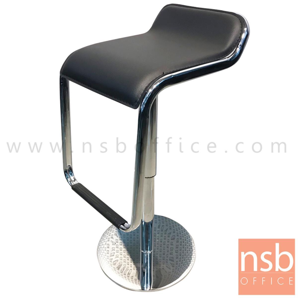B18A066:เก้าอี้บาร์สูงหนังเทียม รุ่น Shasta (ชาสต้า) ขนาด 35W cm. ฐานสเตนเลสแผ่นเรียบ (งานโรงแรม)