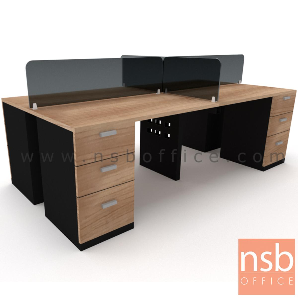 A27A010:ชุดโต๊ะทำงานกลุ่ม   ขนาด 240W ,270W ,300 cm.  พร้อมลิ้นชักกล่อง ขากลางเหล็กมีกล่องพร้อมช่องปลั๊ก