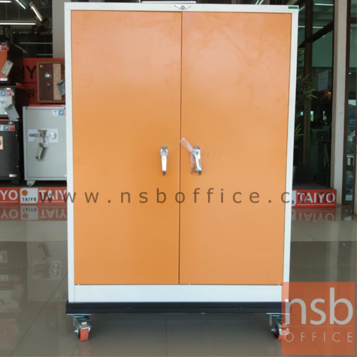 """ฐานรองล้อเลื่อนตู้เหล็กสูง ลูกล้อ pu 3"""" รับน้ำหนักมากพิเศษ  (สำหรับตู้เหล็ก 3, 4 ฟุต แบบสูง)"""