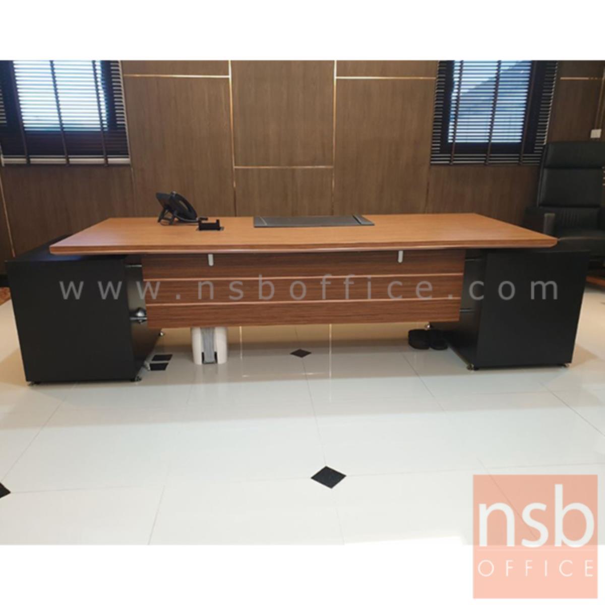 โต๊ะผู้บริหาร 2 ลิ้นชักซ้ายขวา  รุ่น Bulgari Black ขนาด 289.5W cm.  สีลายไม้ซีบราโน่ตัดดำ ขอบ ROSEGOLD
