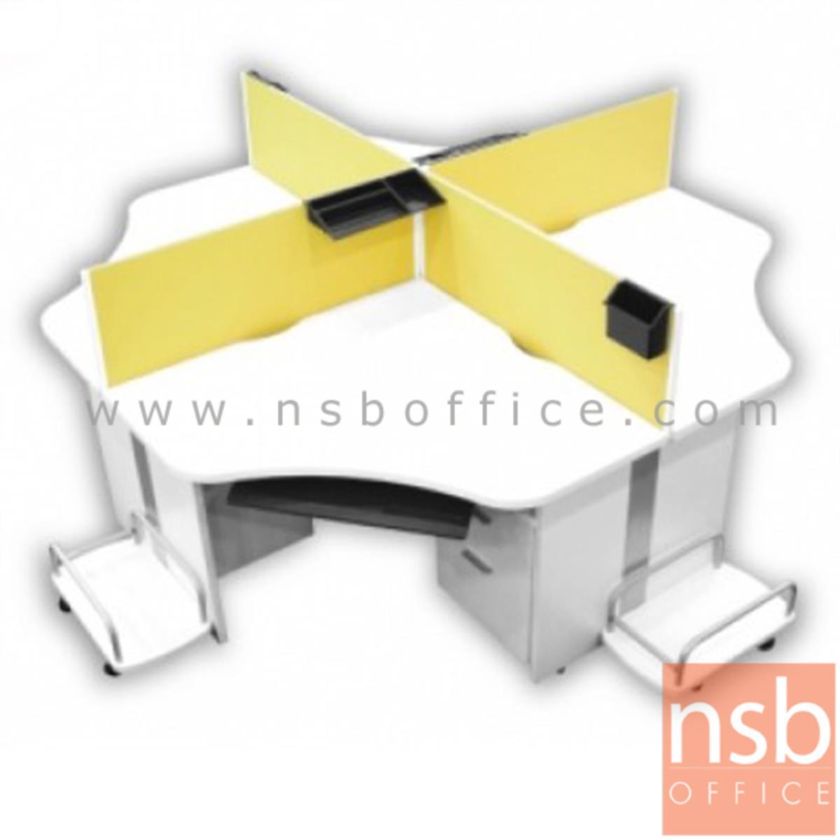 ชุดโต๊ะทำงานกลุ่ม 4 ที่นั่ง  รุ่น CALL-SET01 ขนาด 210W cm. พร้อมด้วยมินิสกรีนบุผ้า