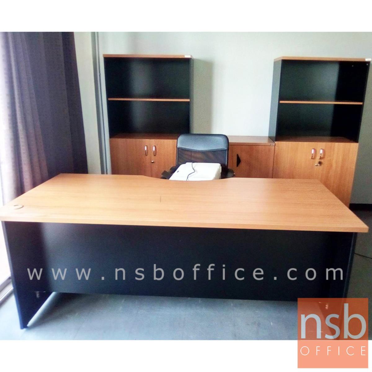 โต๊ะผู้บริหารหน้าโค้ง  รุ่น Blagden (แบลกเดน) ขนาด 180W cm. สีเชอร์รี่ดำ