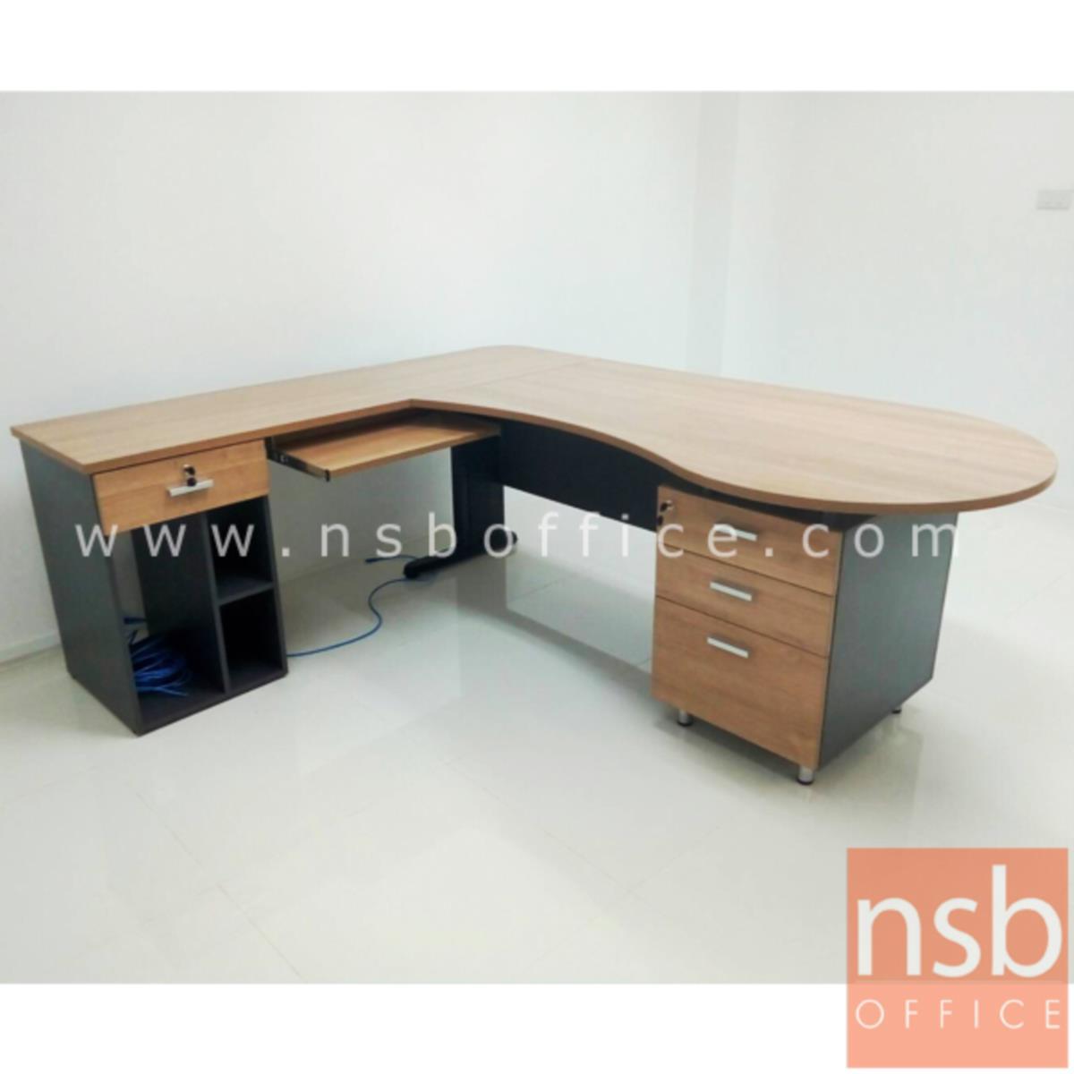 โต๊ะผู้บริหารตัวแอลหัวโค้ง 4 ลิ้นชัก  รุ่น Devonne (เดวอน) ขนาด 210W1*180W2 cm. พร้อมโต๊ะคอมพิวเตอร์ต่อข้าง