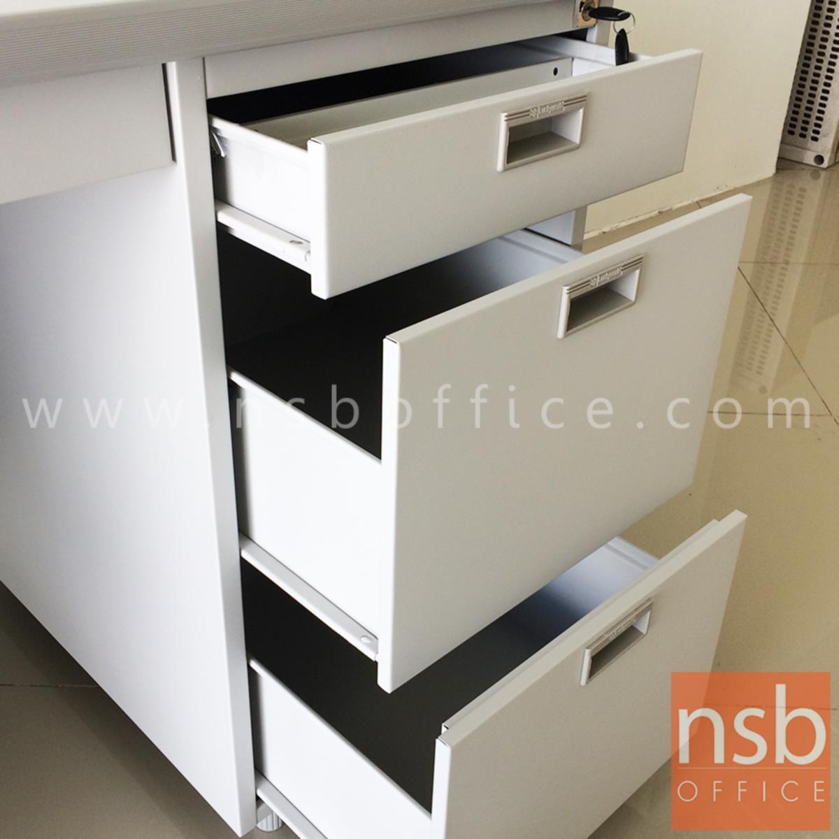 โต๊ะทำงานเหล็ก 4 ลิ้นชัก  100W, 120W cm ทำสีอีพ๊อกซี่พิเศษ (EPOXY)