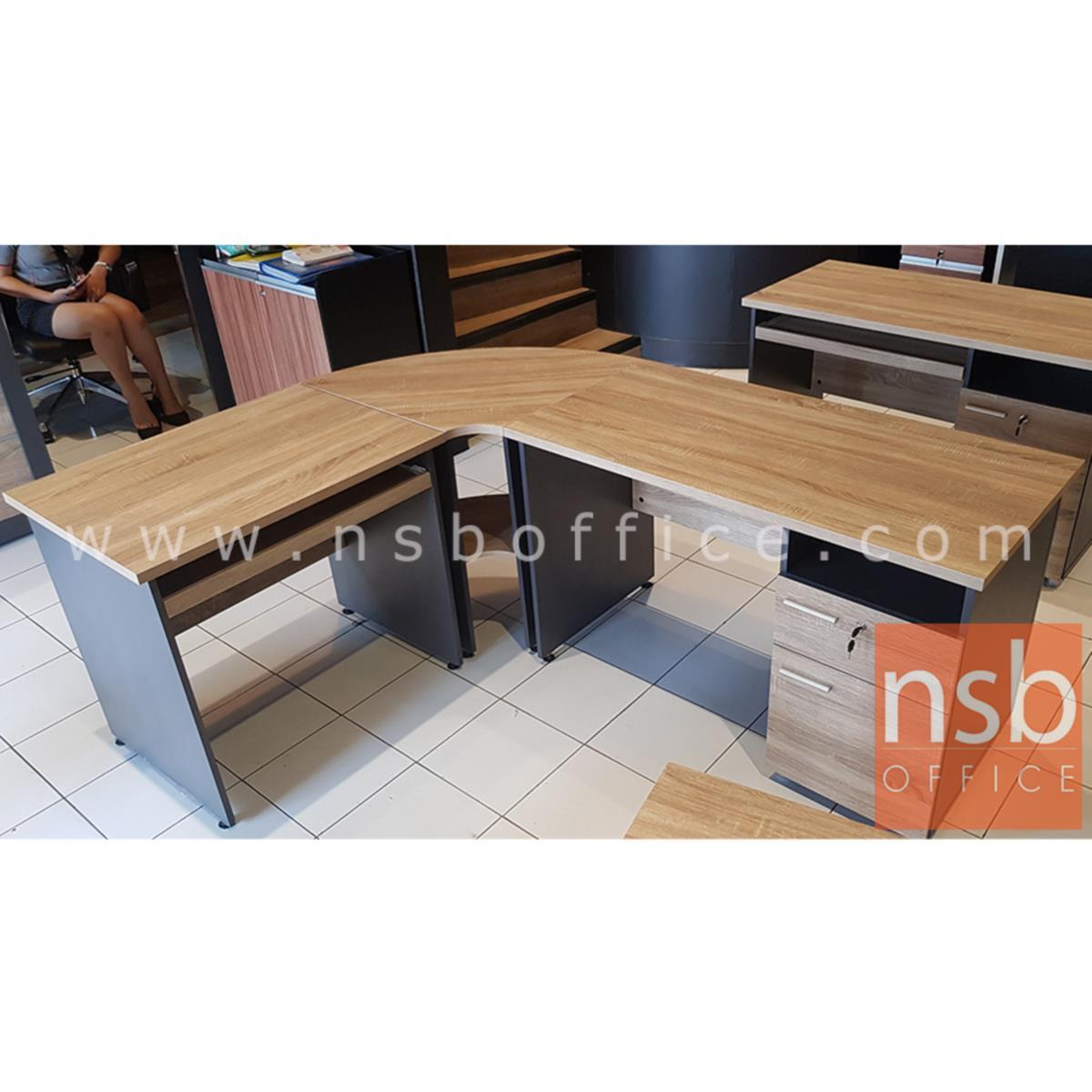 โต๊ะเข้ามุม 2 แผ่นชั้น  รุ่น NCK-700  ขนาด 70W cm. เมลามีน สีแกรนโอ๊คตัดกราไฟท์