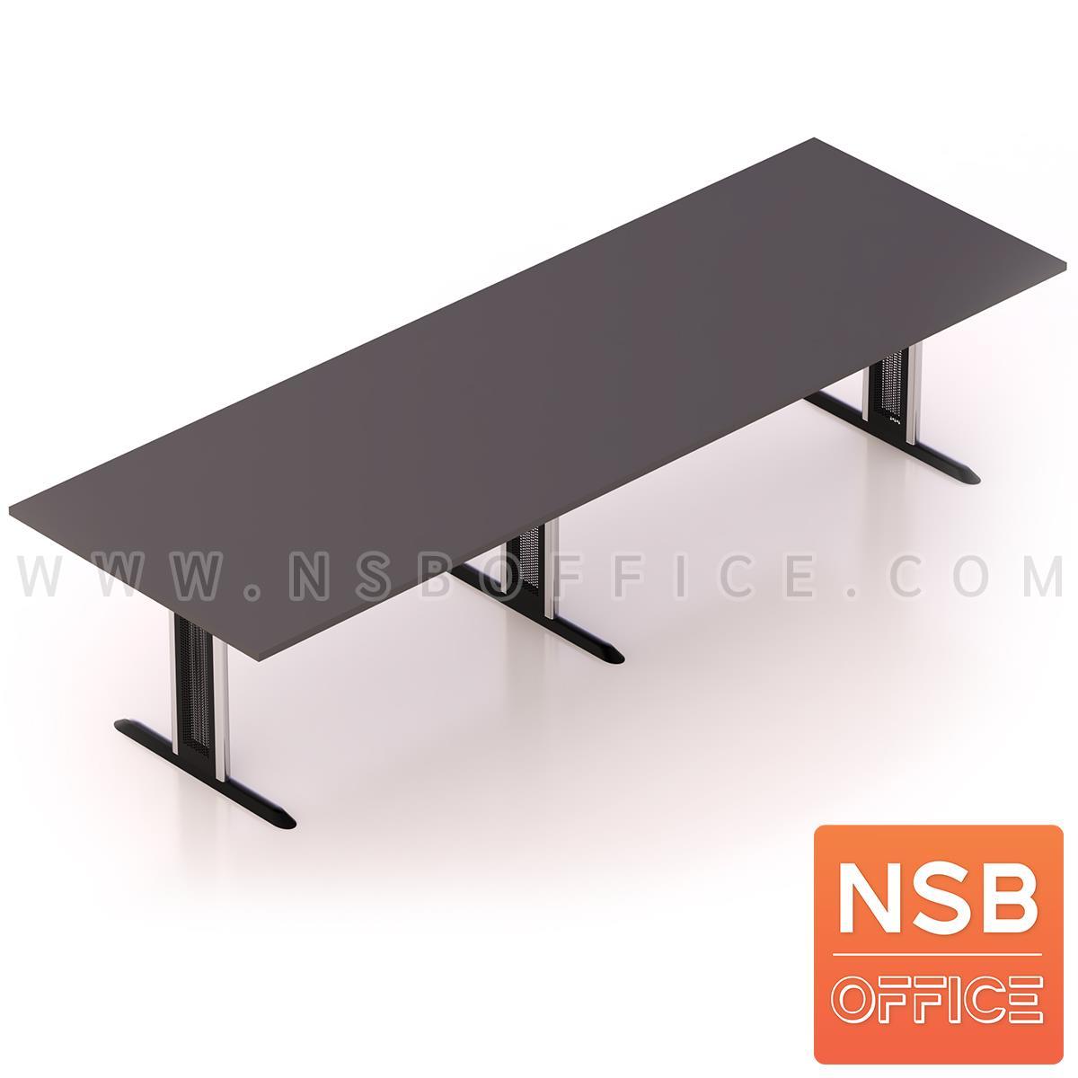 A05A129:โต๊ะประชุมทรงสี่เหลี่ยม  ขนาด 300W-480W cm. พร้อมระบบคานเหล็ก ขาเหล็กตัวไอ