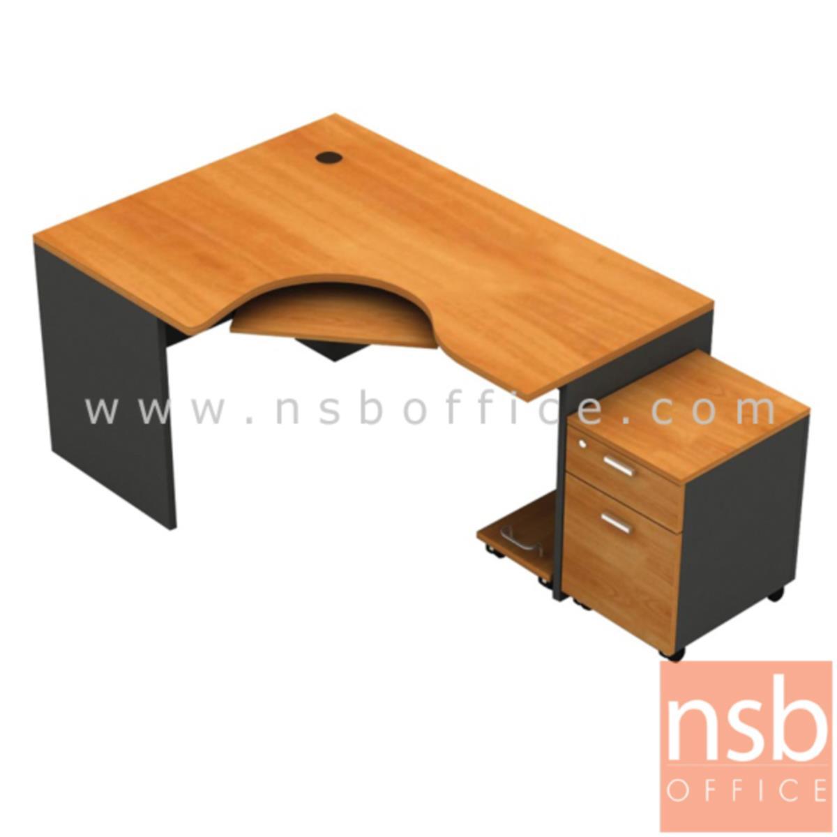 A13A003:โต๊ะผู้บริหารตัวแอลหน้าโค้งเว้า  รุ่น Airiam (แอริซึ่ม) ขนาด 165W1*120W2 cm. พร้อมคีย์บอร์ด ที่วางซีพียู ตู้ลิ้นชักล้อเลื่อน