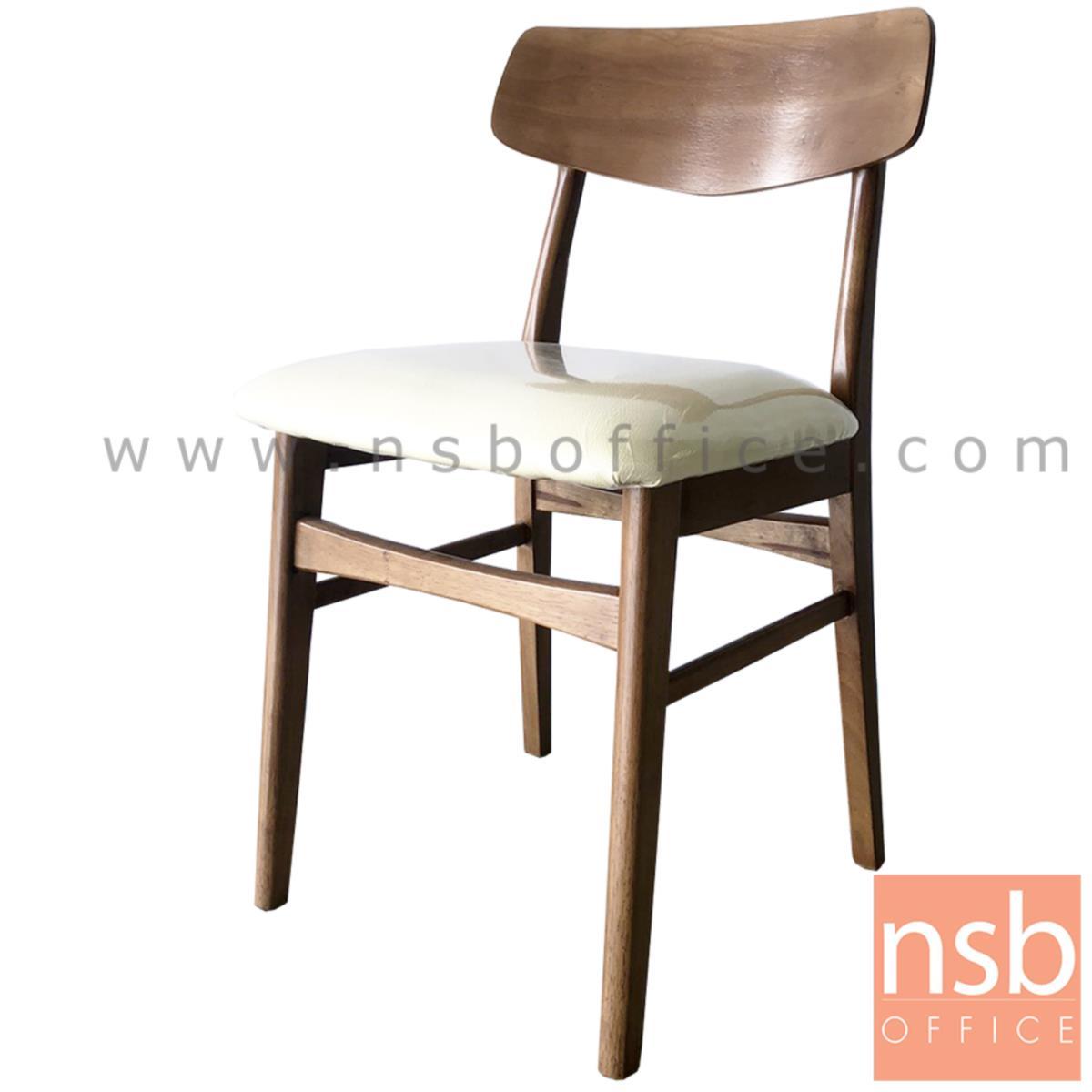 B22A179:เก้าอี้ไม้ที่นั่งหนังเทียม รุ่น IREN (ไอริน)  โครงไม้ยางพารา