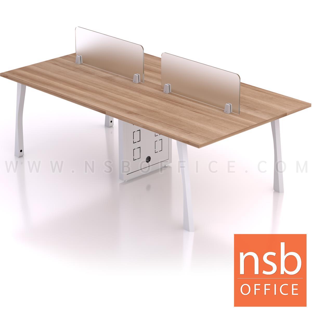 A27A053:โต๊ะทำงานกลุ่ม รุ่น Shinzo (ชินโซ) ขนาด 240W cm พร้อมมินิสกรีน ขาเหล็ก