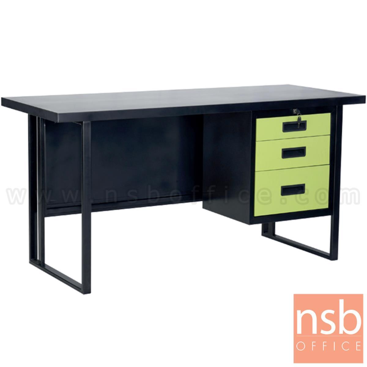 E02A055:โต๊ะทำงานเหล็กหน้าเหล็ก 3 ลิ้นชัก รุ่น Ebonie (อีบอนี่) ขนาด 120W, 150W cm.