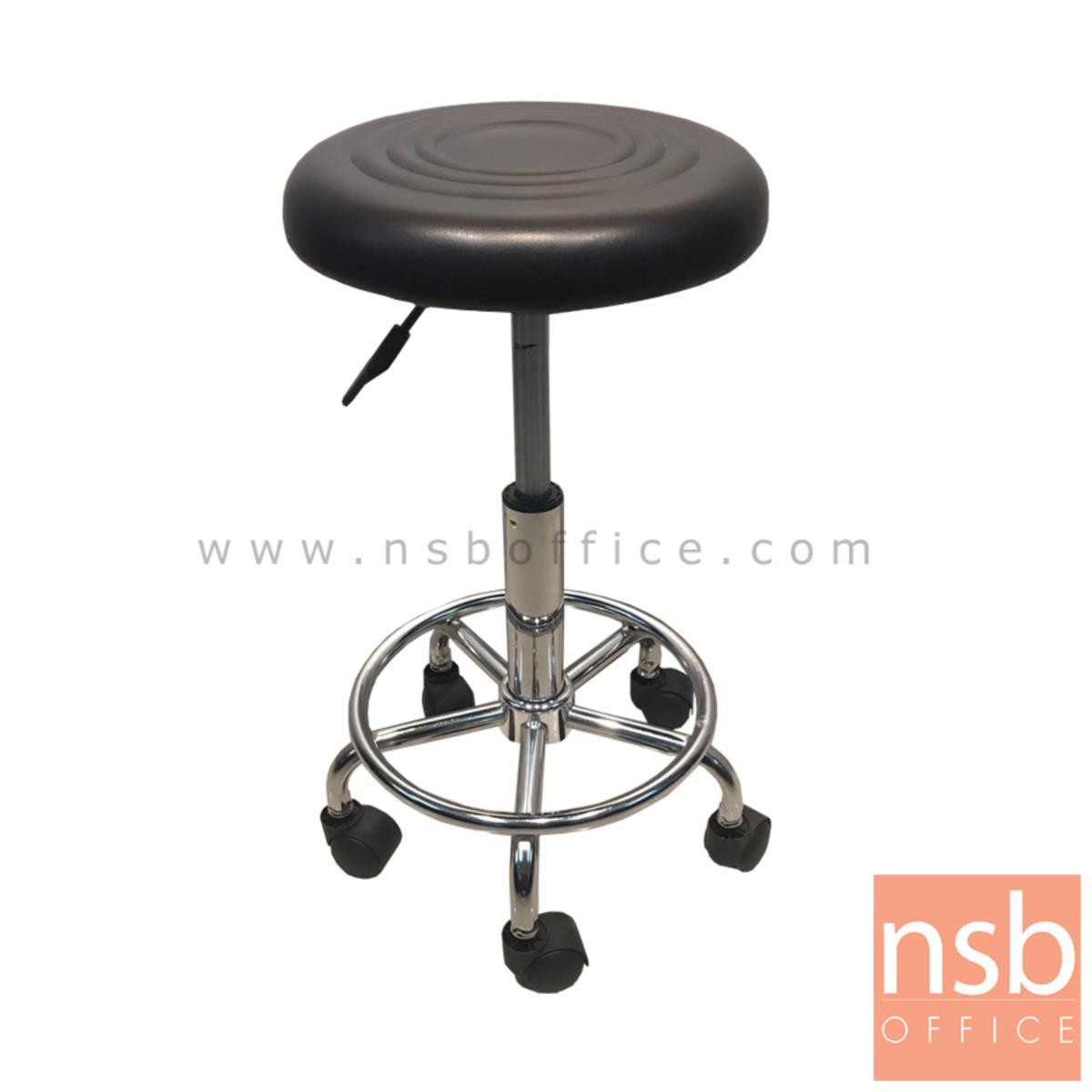 B18A019:เก้าอี้บาร์สตูลกลมล้อเลื่อน สีดำ รุ่น Balrog (บัลร็อก)  โช๊คแก๊ส ขาเหล็กชุบโครเมี่ยม