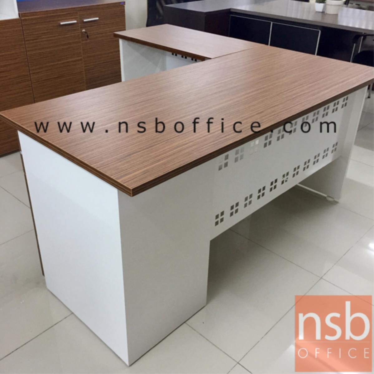 A34A029:โต๊ะทำงานตัวแอล  รุ่น Adornium (อดอร์เนี่ยม) ขนาด 155W1*150W2 cm.  พร้อมบังโป๊เหล็ก สีซีบราโน่-ขาว