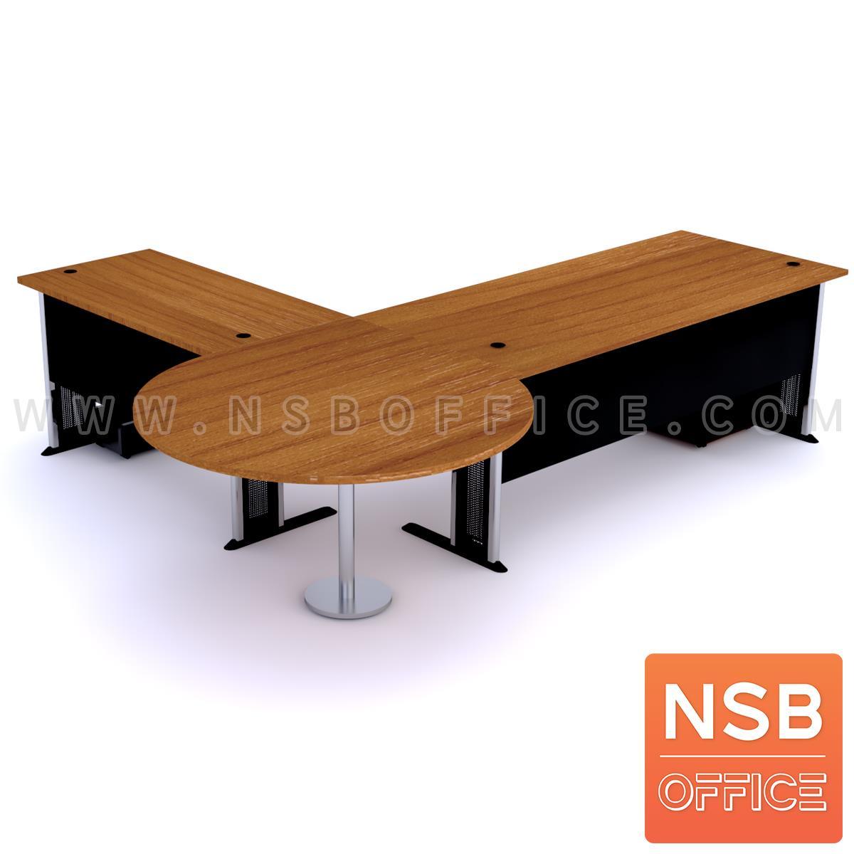 โต๊ะผู้บริหารตัวแอล   ขนาด 280W1*240W2 cm. ขาเหล็กโครเมี่ยมดำ สีเชอร์รี่-ดำ *แอลตามภาพเท่านั้น*