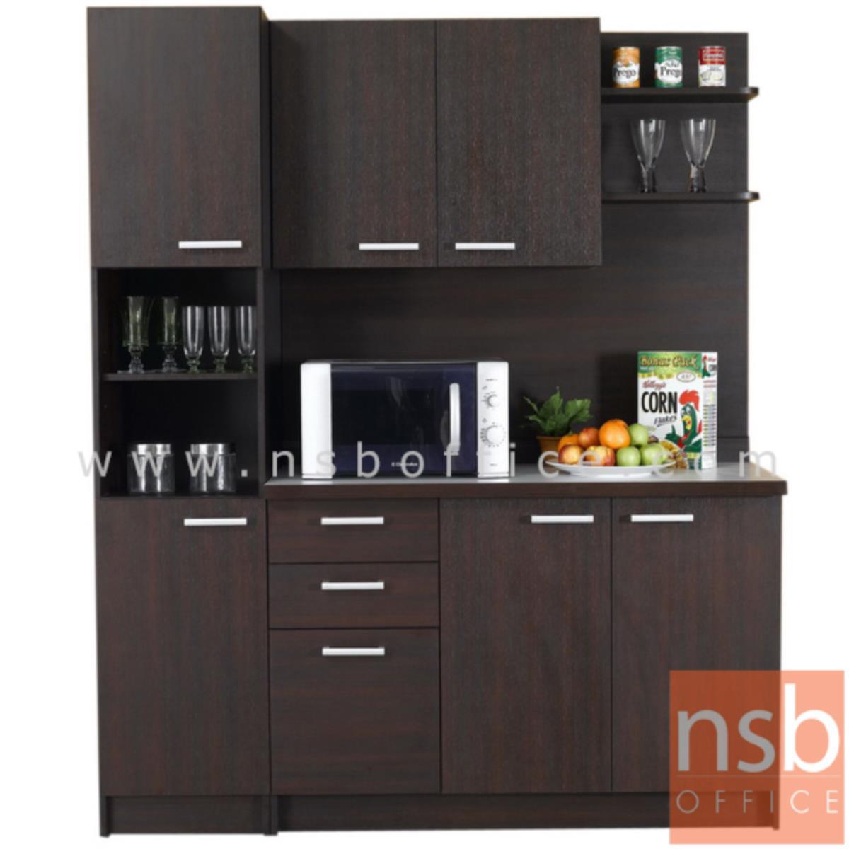 G10A009:ชุดตู้ครัวหน้าเรียบ 160W cm. ER-0112,ER-2114  พร้อมตู้ลอย