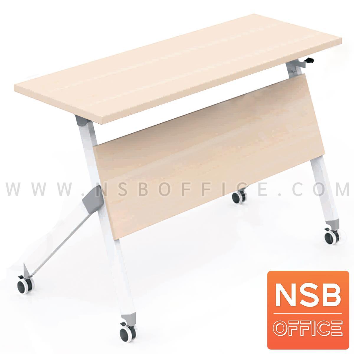 A18A094:โต๊ะพับล้อเลื่อน รุ่น Marcelline (มาเซลีน)  ขนาด 150W cm. โครงขาเหล็ก ลูกล้อใหญ่