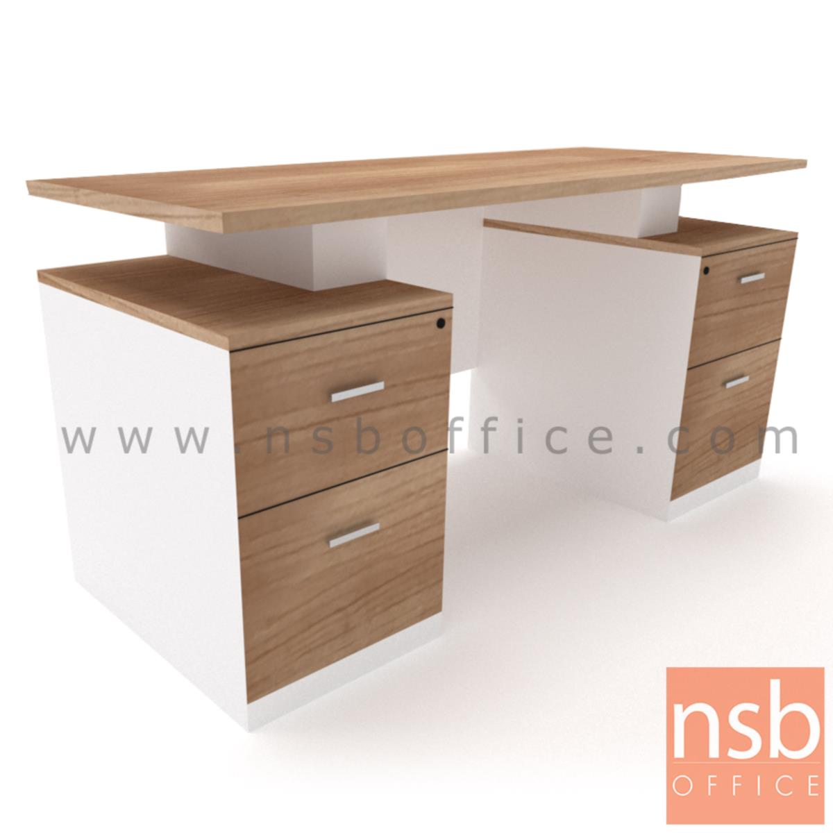 A12A062:โต๊ะทำงาน 4 ลิ้นชัก รุ่น Nixon (นิกซัน) ขนาด 150W ,180W cm.  เมลามีน