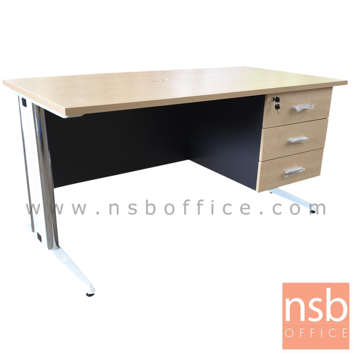 A18A002:โต๊ะทำงาน 3 ลิ้นชัก รุ่น Cliveden (คลิฟเดิน) ขนาด 120W, 135W, 150W (60D) cm.  ขาเหล็กตัวแอล
