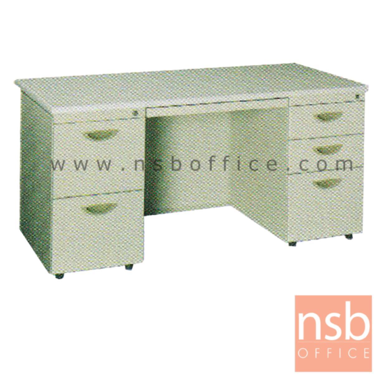 E28A116:โต๊ะทำงานเหล็กพร้อมรางคีย์บอร์ด 5 ลิ้นชักข้าง ยี่ห้อ Lucky  รุ่น DP23-75150,DP23-75180