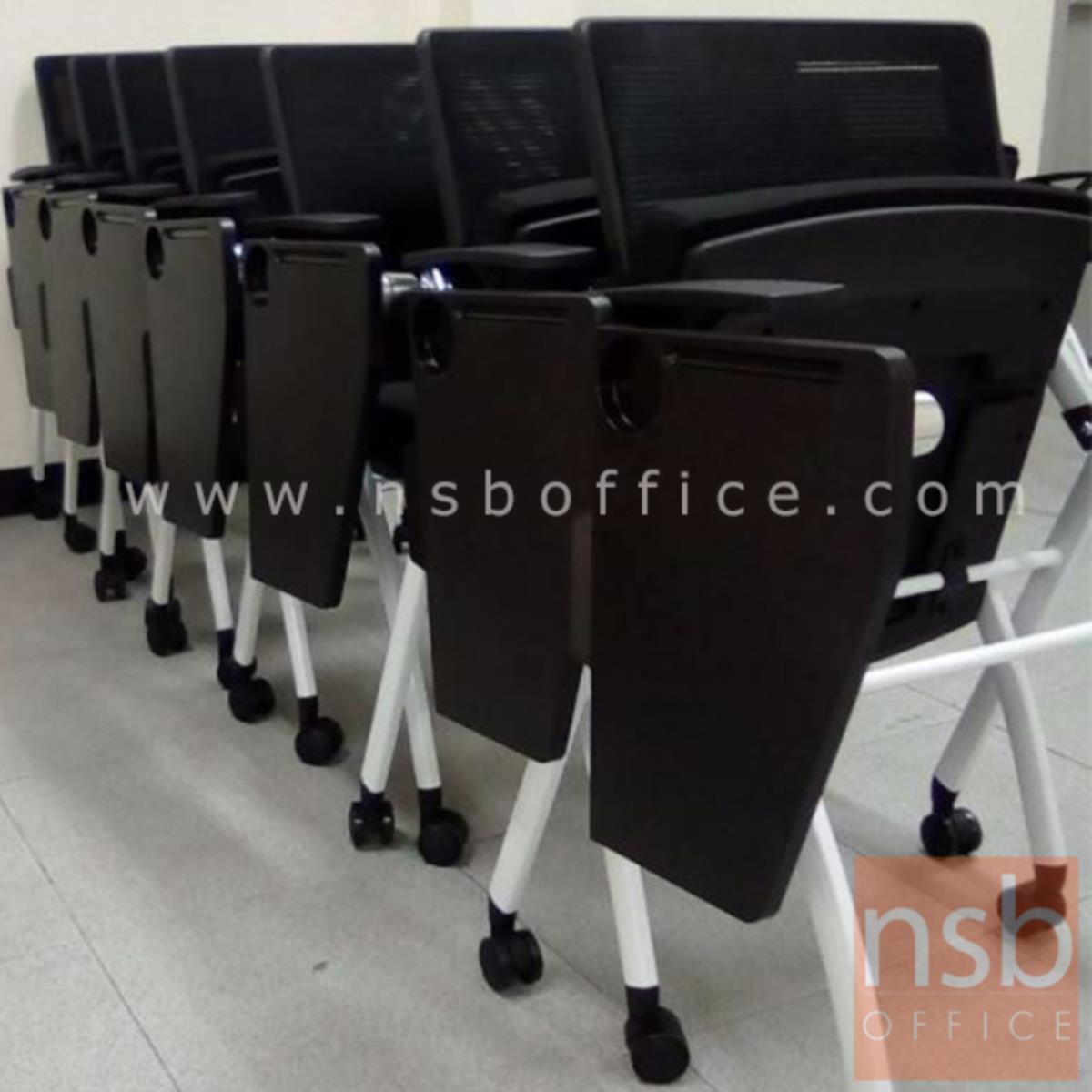 เก้าอี้เลคเชอร์หลังเน็ตล้อเลื่อน รุ่น Halle (แฮลลี)  ขาเหล็กพ่นสีขาว