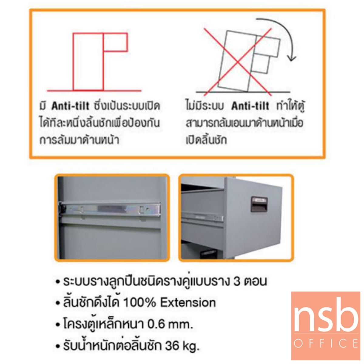ตู้ลิ้นชักแฟ้มแขวน 2 ลิ้นชัก (มีระบบป้องกันทางล้ม Anti tilt) รุ่น FC-952