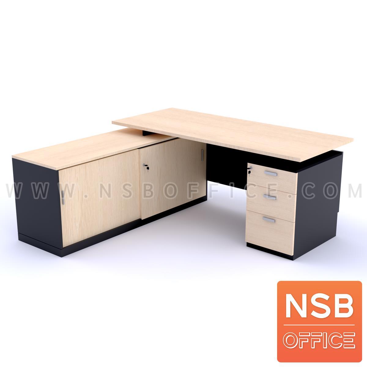 A13A051:โต๊ะผู้บริหารตัวแอล 3 ลิ้นชัก รุ่น NOAH ขนาด 180W1*175W2 cm. พร้อมตู้ข้าง
