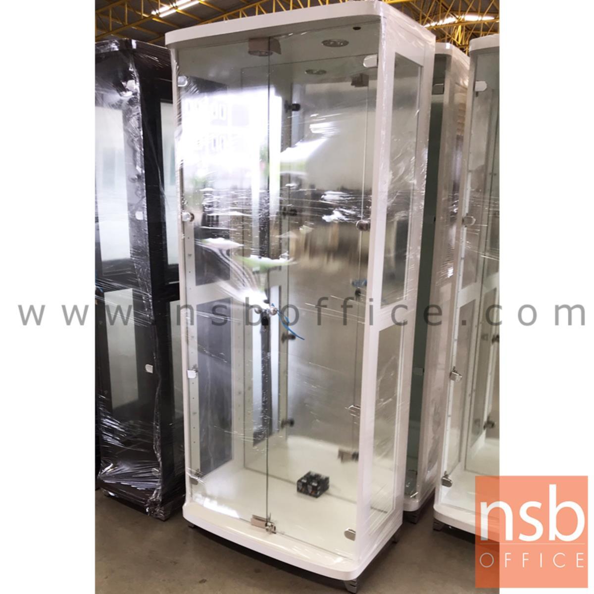 ตู้โชว์กระจกดาวน์ไลท์ ขนาด 80W*40D*190H cm. รุ่น DW-208 มีไฟในตัว  (หลังกระจกเงา)