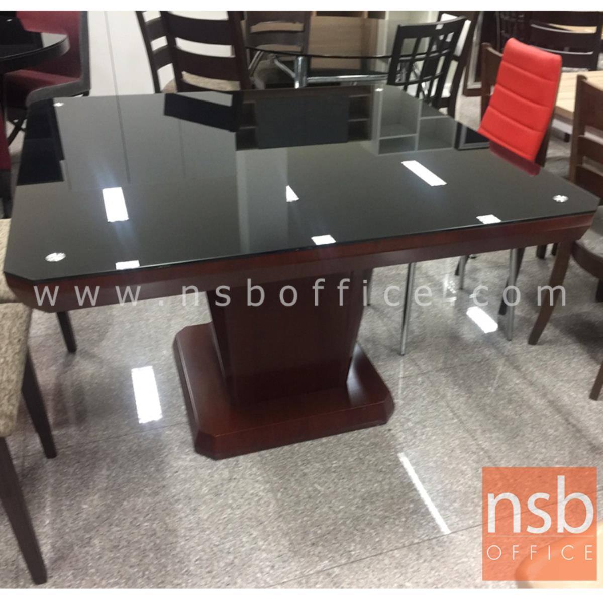 G14A185:โต๊ะรับประทานอาหารหน้ากระจก รุ่น Slater (สเลเทอร์)  โครงขาไม้