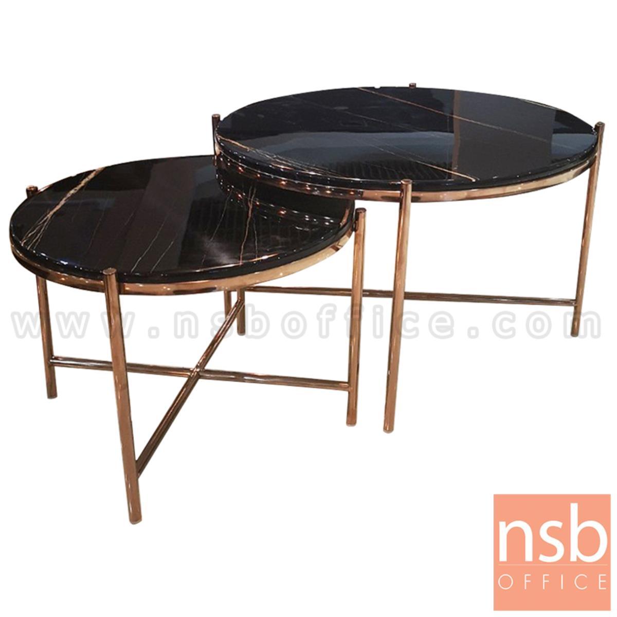 B13A285:โต๊ะกลางหินอ่อน รุ่น Macjay (แมคเจย์)  ขาสีพิ้งค์โกลด์