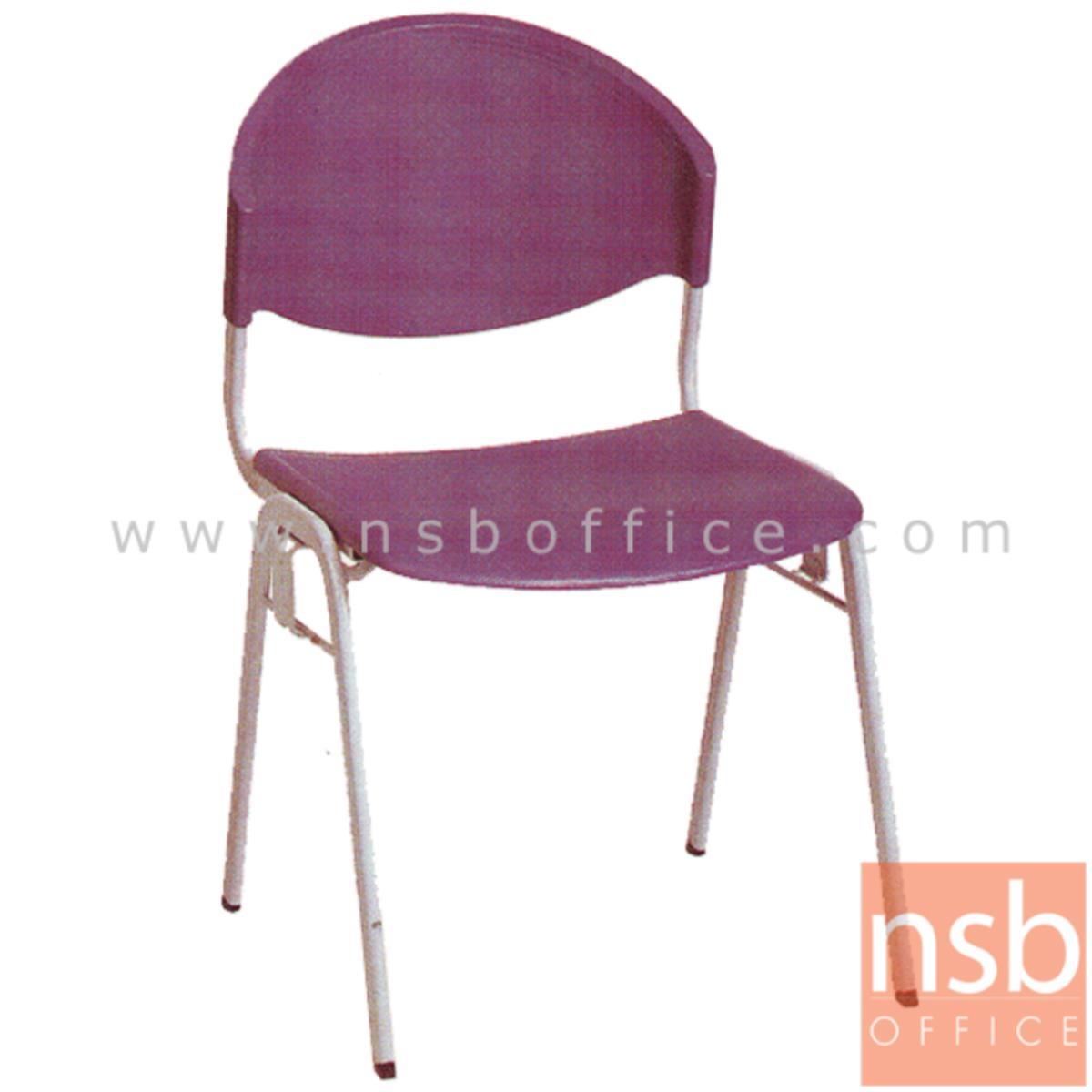 B05A031:เก้าอี้อเนกประสงค์เฟรมโพลี่   มีตัวเกี่ยวด้านข้าง ขาวีคว่ำ
