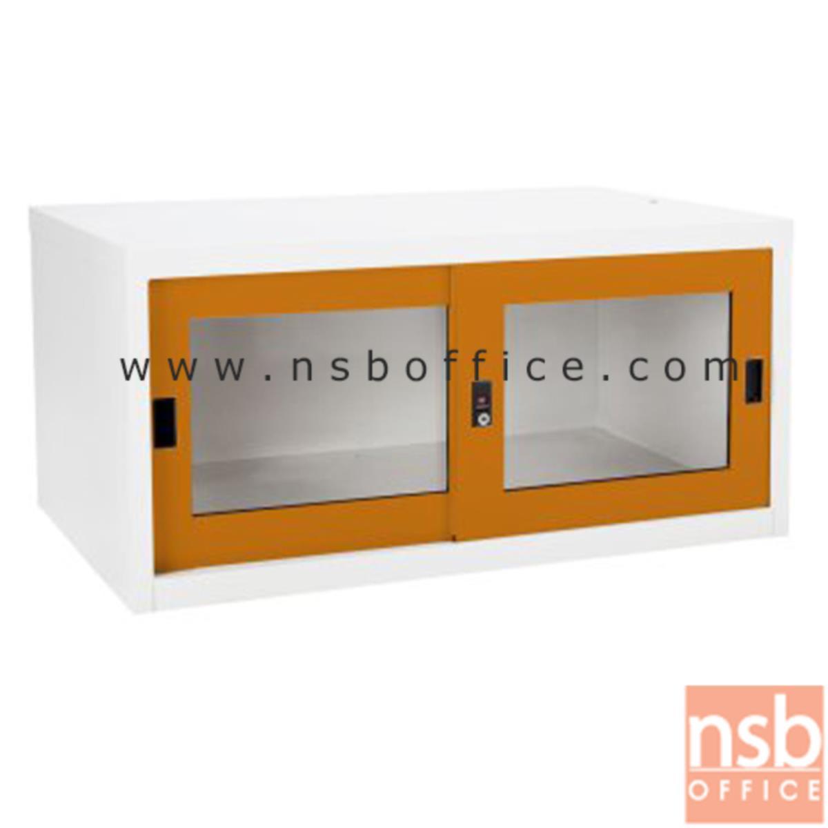 E23A013:ตู้เสริมบนตู้เสื้อผ้าเหล็ก บานเลื่อนกระจก (สูงรวม 226 cm.) รุ่น SGC-04