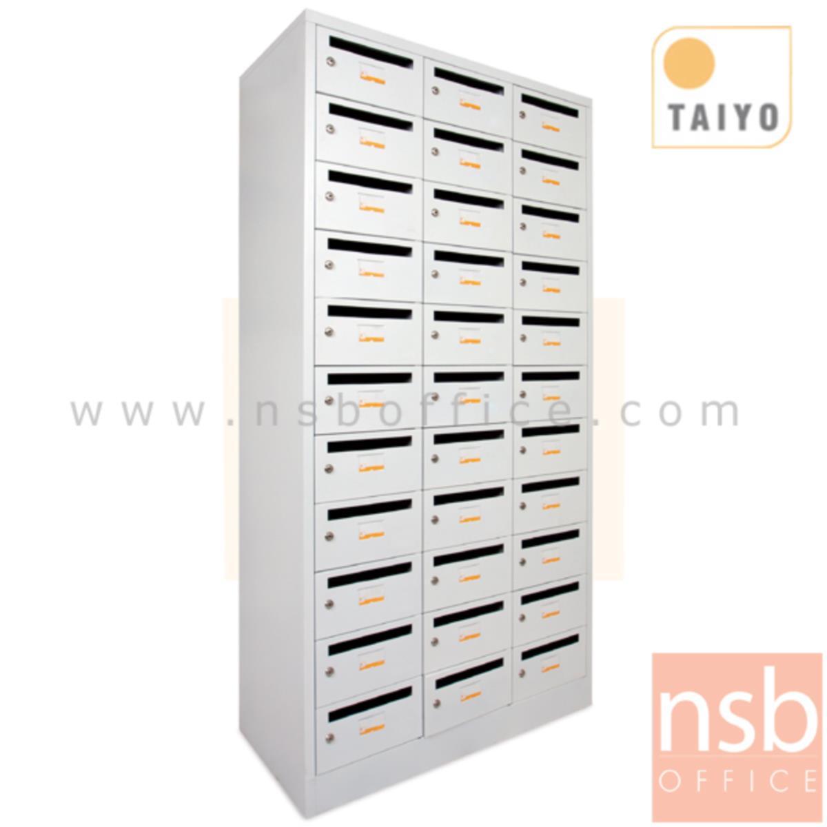 E08A047: ตู้ล็อคเกอร์จดหมาย 33 ประตู รุ่น LK33KP  ระบบกุญแจล็อค บานประตูมีช่องสอดจดหมาย