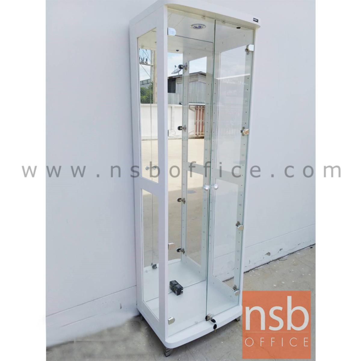 ตู้โชว์กระจกดาวน์ไลท์ 2 บานเปิด รุ่น DW-602 ขนาด 60W*40D*190H cm. มีไฟในตัว (หลังกระจกเงา)