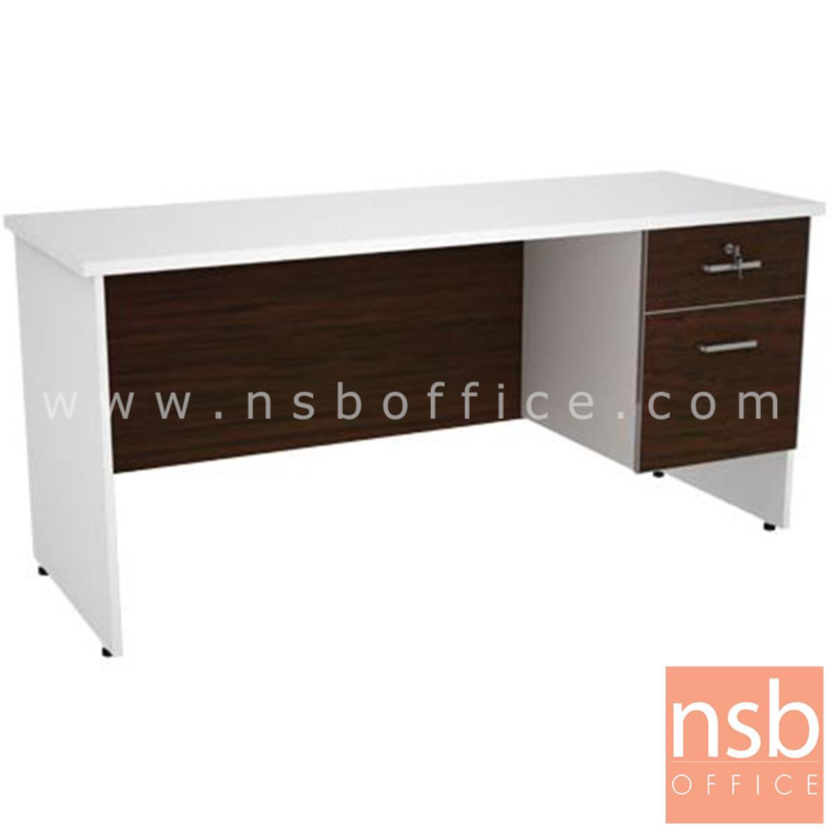 โต๊ะทำงาน 2 ลิ้นชัก รุ่น BeemBox (บีมบ็อกซ์) ขนาด 120W*60D ,160W*80D cm. เมลามีน สีเวงเก้-ขาว